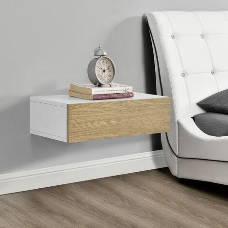 Estante de pared con compartimento - 50 x 24 x 12 cm - Mesita de noche de pared con cajón - para Almacenar - Blanco y Apariencia de madera