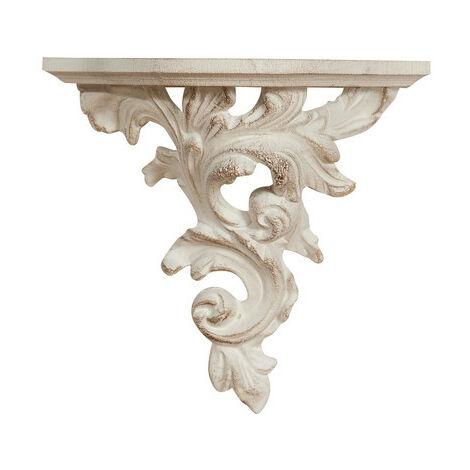 Estante de pared de madera acabado con efecto blanco envejecido talla L21xPR12xH20 cm Made in Italy