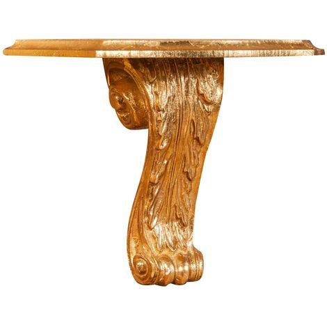 Estante de pared de madera acabado hoja con efecto oro envejecido talla L30XPR15XH23 cm Made in Italy
