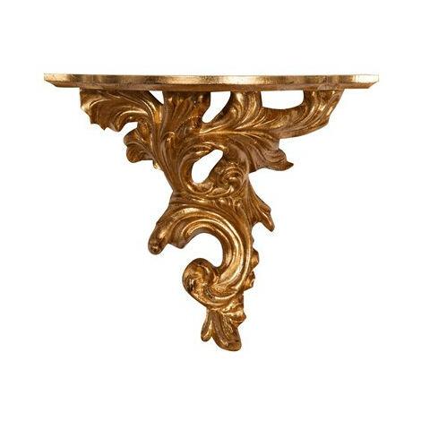 Estante de pared de madera acabado hoja con efecto oro envejecido talla L34xPR18xH28 cm Made in Italy