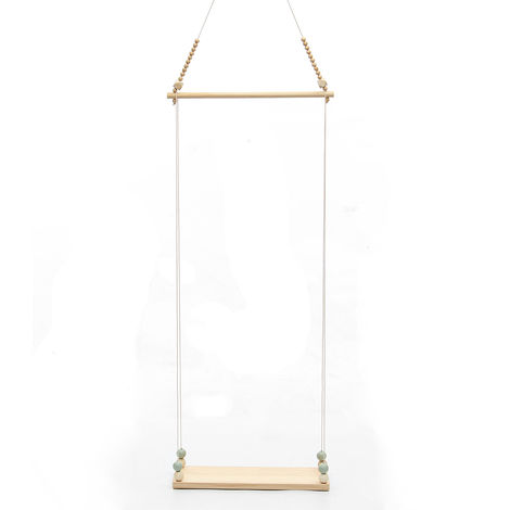 Estante de pared de madera Almacenamiento para ni?os Cuerda colgante Columpio Borla Estantes decorativos