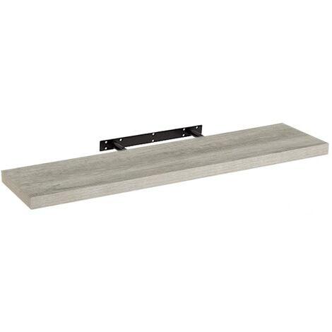 Estante de pared de madera MDF gris de 23x100 cm