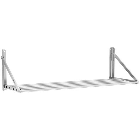 Estante De Pared Metálico Plegable Estantería Acero Inox 40 kg Balda 120 x 45 cm