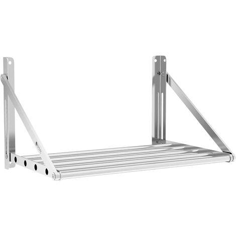 Estante De Pared Metálico Plegable Estantería Acero Inox. 40 kg Balda 60 x 45 cm