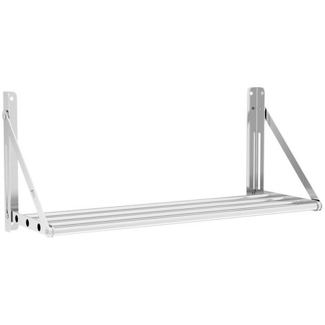 Estante De Pared Metálico Plegable Estantería Acero Inox 40 kg Balda 80 x 30 cm