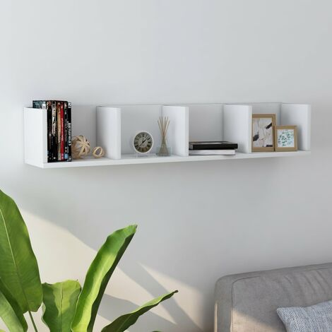Estante de pared para CD aglomerado blanco 100x18x18 cm - Blanco
