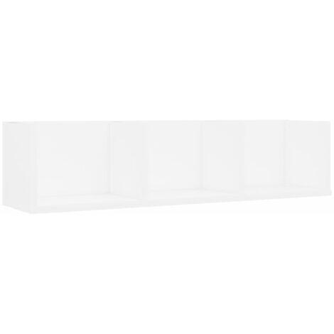 Estante de pared para CD aglomerado blanco 75x18x18 cm
