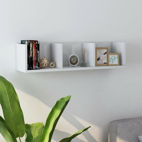 Estante de pared para CD aglomerado blanco brillante 75x18x18cm