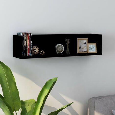 Estante de pared para CD aglomerado negro 75x18x18 cm - Negro