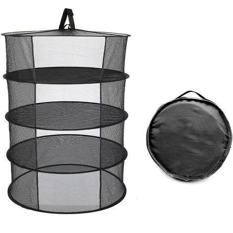 Estante de secado plegable de cesta colgante, 4 capas,negro