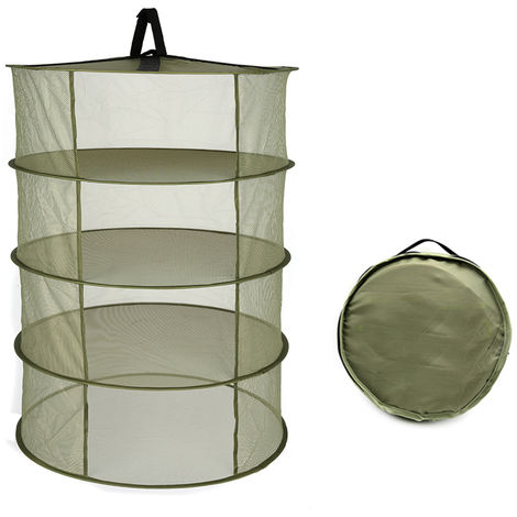 Estante de secado plegable de cesta colgante, 4 capas,verde militar