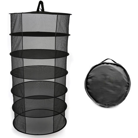 Estante de secado plegable de cesta colgante, 6 capas,negro