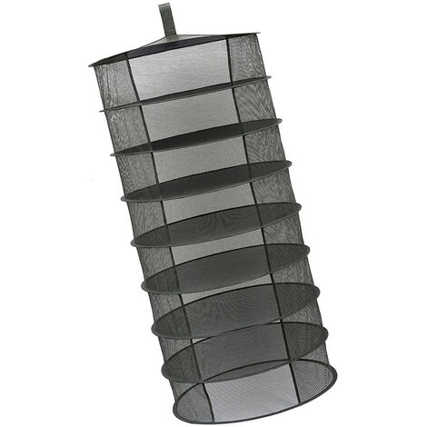 Estante de secado plegable de cesta colgante, 8 capas,negro