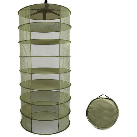 Estante de secado plegable de cesta colgante, 8 capas,verde militar