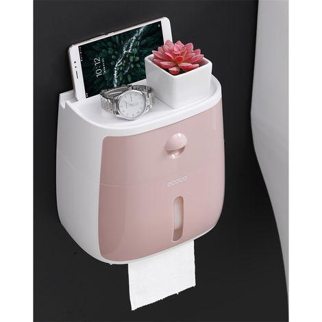 Estante de soporte de papel higiénico montado en la pared impermeable para rollo de bandeja de papel higiénico rosa