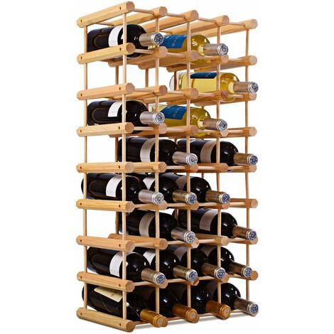 Estante de Vino para 40 Botellas Botellero de Madera Pino Sostenedor de Pie de Vino