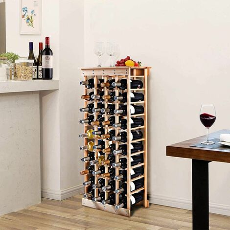 Estante de Vino para 44 Botellas Botellero de Madera Pino Sostenedor de Pie de Vino