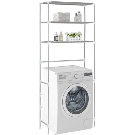 Estante encima de la lavadora 3 niveles plateado 69x28x169 cm