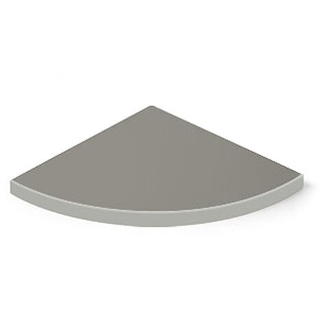 Estante esquinero de DM, con estilo clásico, acabado en aluminio y 350 mm de profundidad