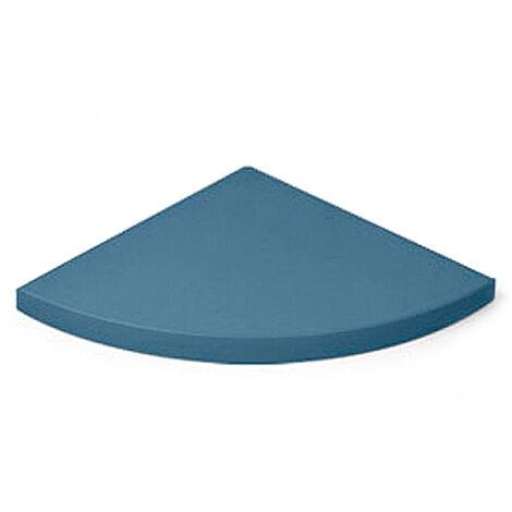 Estante esquinero de DM, con estilo clásico, acabado en azul y 250 mm de profundidad