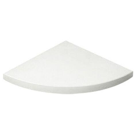 Estante esquinero de plástico, de estilo decorativo, acabado en blanco y 250 mm de profundidad.