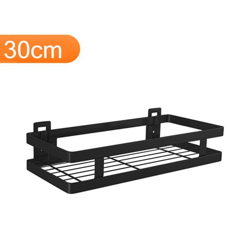 Estante flotante de acero inoxidable para almacenamiento en pared, negro,30cm