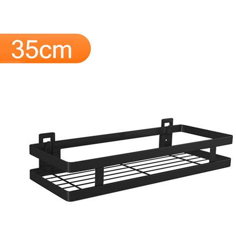Estante flotante de acero inoxidable para almacenamiento en pared, negro,35cm