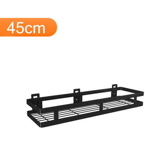 Estante flotante de acero inoxidable para almacenamiento en pared, negro,45cm