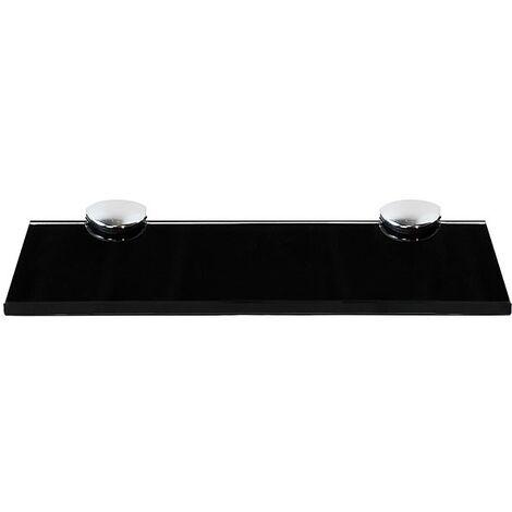 Estante flotante de cristal estante de baño estante de pared 20x10CM Negro + Montaje soporte para baño estantería de pared de vidrio