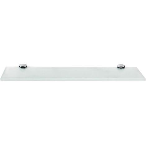 Estante flotante de cristal Estante de baño estante de pared 40x10CM Blanco Soporte para baño estantería pared vidrio estantería
