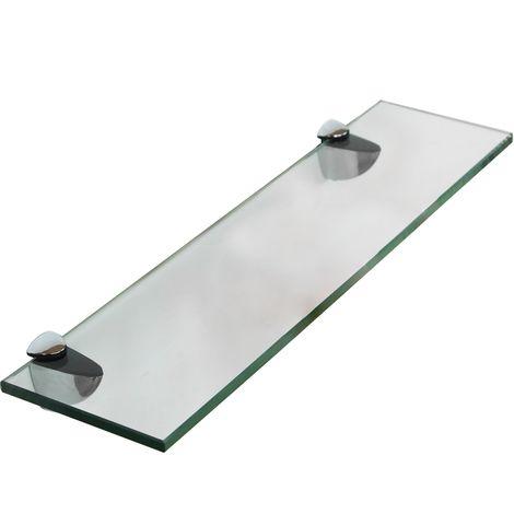 Estante flotante de cristal + Montaje estante de baño estante de pared 80x10CM Soporte para baño estantería pared vidrio estante para Espejo