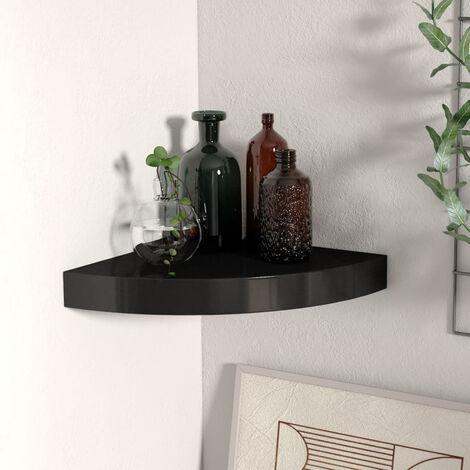 Estante flotante de esquina negro MDF 25x25x3,8 cm