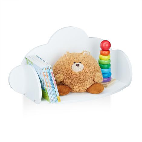 Estante flotante para niños, Dormitorio infantil, MDF, Decoración, Librería, 31,5 x 60 x 21 cm, Blanco