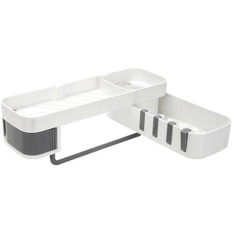 Estante giratorio 2 capas en plástico sin soporte para baño cocina gris Sasicare