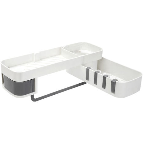Estante giratorio de plástico de 2 capas sin soporte para baño Cocina Negro LAVENTE