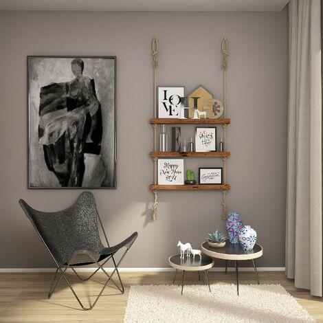Estante Halatli - Estante, Estanteria - Suspendido, Decorativo, Portaobjetos - para Pared, Salon, Dormitorio, Dormitorio de ninos - Roble, Crudo en Madera, Yute, 75 x 9 x 125 cm