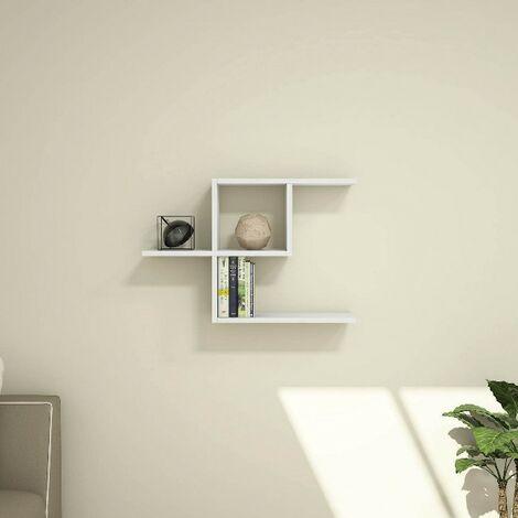 Estante Half - Flotante, de Pared, para Libros para Salon, Oficina - Blanco, in Aglomerado Melaminico, PVC, 75x22x50 cm