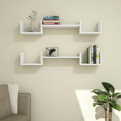 Estante Life - Flotantes, de Pared, para Libros para Salon, Oficina - Blanco, in Aglomerado Melaminico, PVC, 107,2x22x17 cm