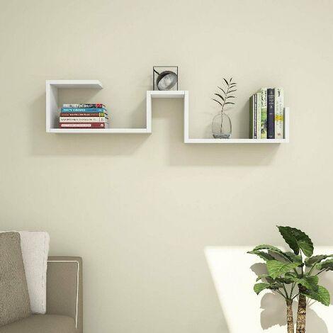 Estante Maze Flotante, de Pared, para Libros - para Salon, Oficina - Blanco en Madera, 116,4 x 20 x 30 cm