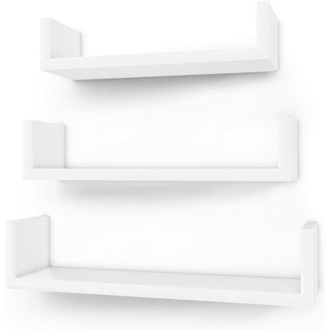 Estante Mural Estantería Colgante en Forma de U Set de 3 estantes flotantes Decoración Creatividad MDF Blanco LWS40WT