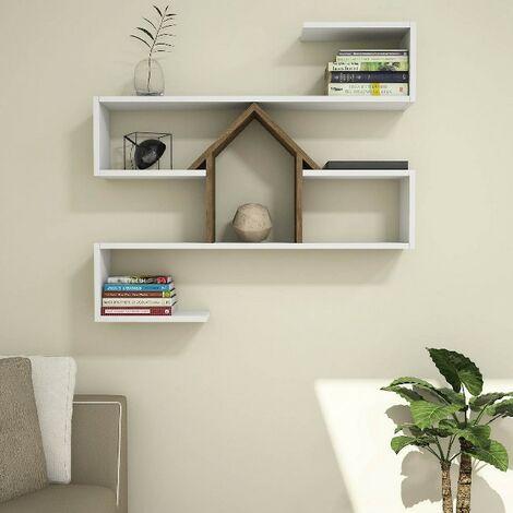 Estante Nest Flotante, de Pared, para Libros - para Salon, Oficina - Nogal, Blanco en Madera, 100 x 20 x 93 cm
