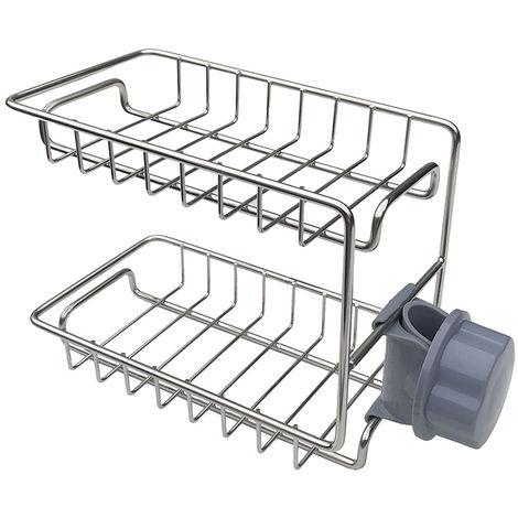 Estante para griferia, Estante de almacenamiento de fregadero de cocina, 2 capas