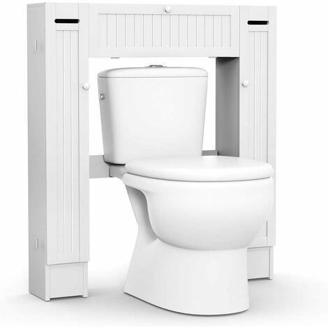 Estante para Inodoro Armario de Baño WC Ducha Estantería Almacenamiento con Multiples Intervalos Blanco
