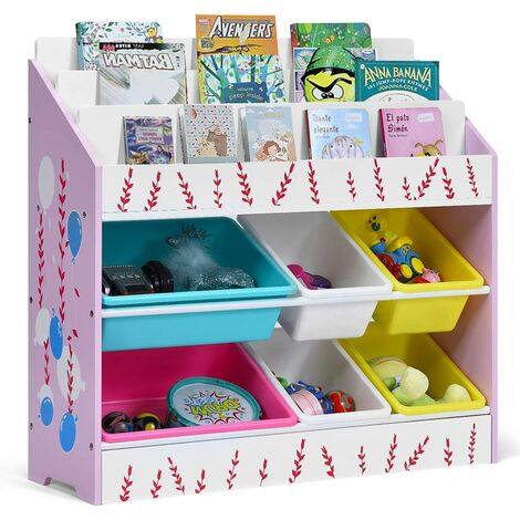 Estante para Juguetes con 6 Contenedores y 3 Estantes Organizador Libros Estantería Almacenamiento para Niños para Salón Habitación