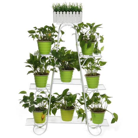 Estante para macetas de metal multicapa Estante para macetas para interiores, interiores, exteriores, jardín (blanco, blanco de 9 niveles)