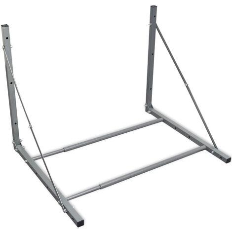 Estante para neumáticos plegable de acero galvanizado plateado