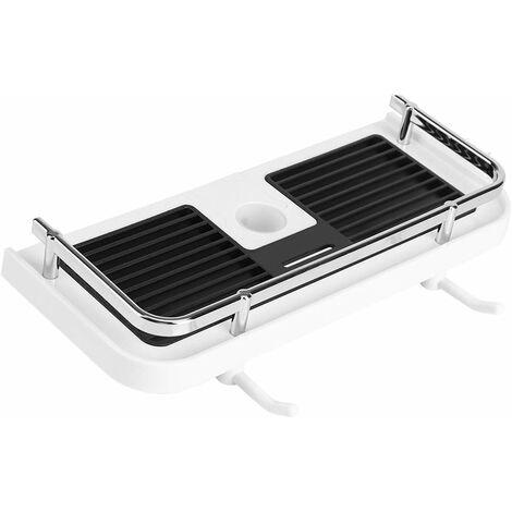 Estante para riel de ducha sin taladro LangRay, estante para barra de ducha ajustable, organizador de jabón y champú para baño con 2 ganchos, para riel de 22-25 mm