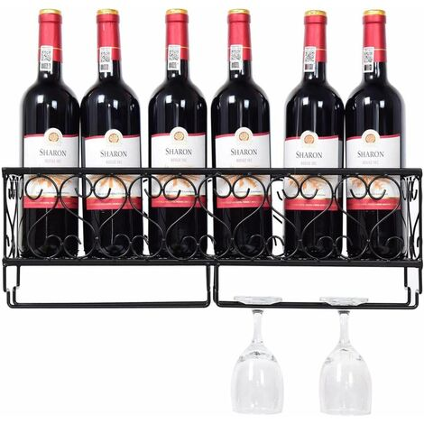 Estante para Vinos de Pared Soporte para Botellas de Vino Metal Copa de Vino Colgante