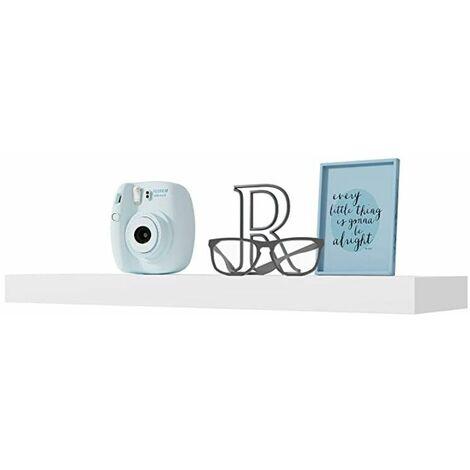 Estante pared blanco 80x20 cm fijación invisible, Estantería colgante, Estante pared cocina, Estantería pared, Estantes dormitorio, Estantería libreria