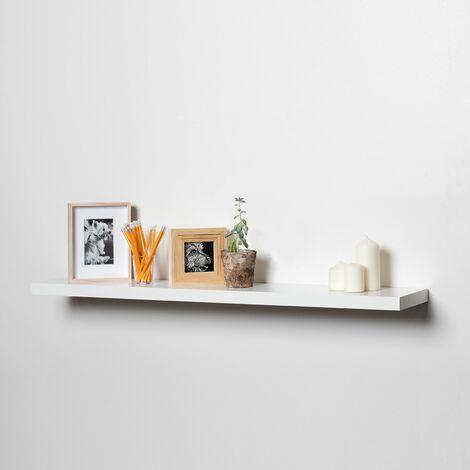 Estante pared blanco lacado 60x19 cm - grosor 2,2 cm fijación invisible macizo, Estantería colgante, Estante pared cocina, Estantería pared, Estantes dormitorio, Estantería libreria